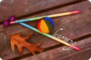 Knit learn leaf rainbow